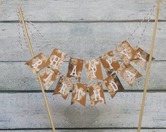 "Cake Bunting, ""Shabby Gold"", Happy Birthday, Cake Topper, Ready to Ship"