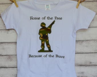 Personalized Military Army Man Applique Shirt or Bodysuit Boy
