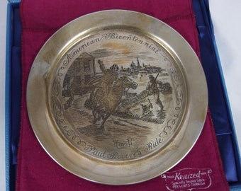 Paul Revere's Ride Sterling Silver and 24K Gold Inlaid Plate Danbury Mint