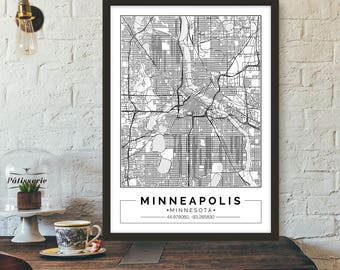 Minneapolis, Minnesota, City map, Poster, Printable, Print, Street map, Wall art