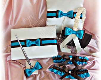 Weddings chocolate brown and turquoise ring pillow, basket, bridal garter set, guest book and pen set.