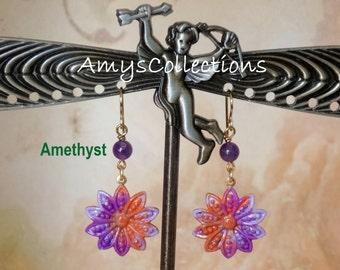 Amethyst Decennial Flower hand-painted dangle Earrings (1 Pair) One-of-a-Kind