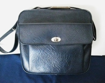 Vintage Mid Century Blue Samsonite SENTRY Carry On Bag-Airline-Gym-Overnight Bag-Lock with Key--#DRG