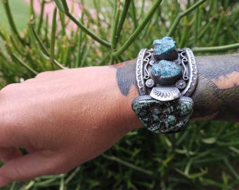 Nugget Turquoise Cuff. Repurposed vintage sterling silver watch cuff with Kingman Turquoise Nuggets. Unisex cuff bracelet.