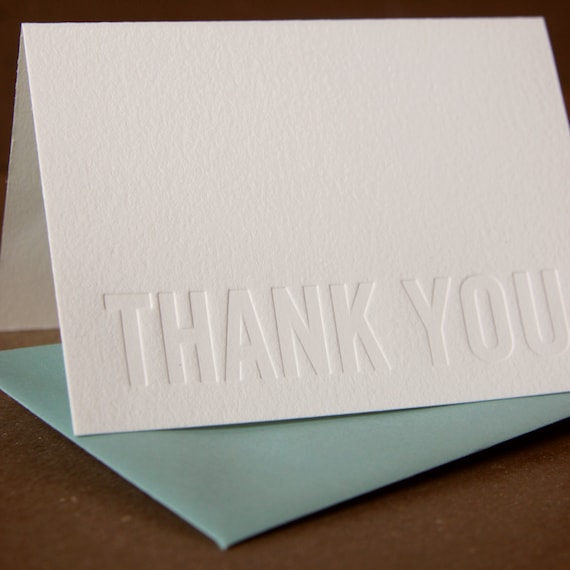 Letterpress Thank You Cards : Impression (no ink) Modern Block Thank You Notes - box of 5 small folded cards w pool blue colored envelopes