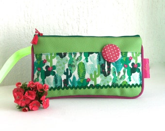 Popsy leatherette pouch and cotton Cactus lime Collection