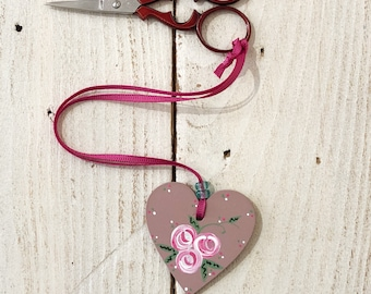 Rose scissor fob, embroidery scissor fob, scissor keepee, hanging heart, crochet supplies, knitting tools, cross stitch gift, gift for her