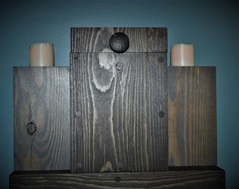Rustic Wooden Storage Box, and Farmhouse Wood Candle Holder Set