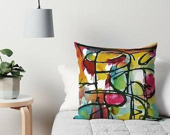 Art Pillow, Modern Pillow, Accent Pillow, Rainbow Pillow, Throw Pillow, Couch Pillow, 16x16 18x18 20x20, Abstract Pillow, Couch Cushion