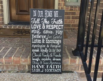 Family Values Wood Sign ~House Rules ~Farmhouse Decor ~Family Rules Sign ~Family Sign ~In Our Home We ~Custom Family Gift ~Wood Signs