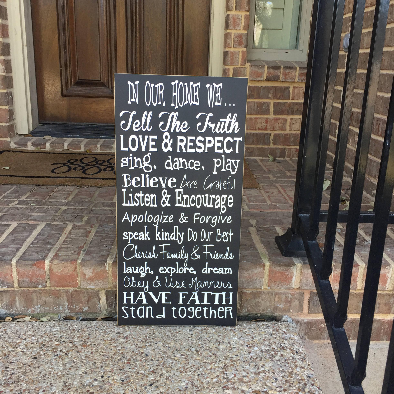Family Values Wood Sign House Rules Farmhouse Decor Family
