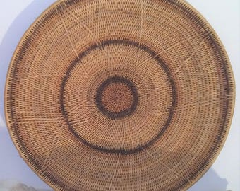 """Large 18.75"""" round Hand Woven Rattan Straw Coil shallow bowl Wall Hanging or Serving tray Bohemian decor"""