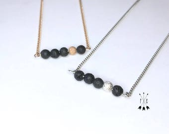 Lava Stone & Stardust Bead Bar Necklace; Rose Gold or Silver; Aromatherapy Necklace; Lava Diffuser Necklace