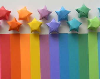500 Origami lucky star paper strips, Rainbow Multicolor