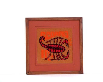 vintage zodiac needlepoint scorpio , completed and framed