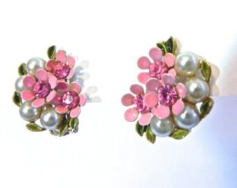 Vintage 50s Earrings , Pink Flowers and Pearls High End 1950s Earrings - on sale