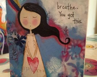 Art Block - Inspirational Girl Mixed Media Art Print You Got This