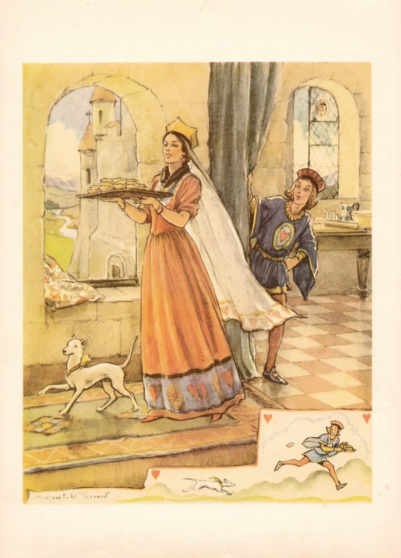 """Illustration of nursery rhyme """"The Queen of Hearts"""" by Margaret Tarrant, 12 x 9 inches, 1950 book illustration"""