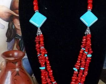 Stunning Southwest Turquoise and Coral Eye-popping Necklace