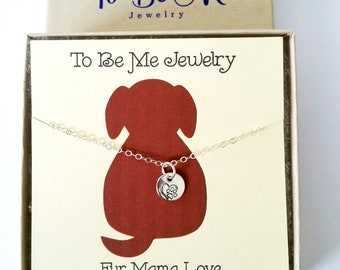 Fur Mama Love Sterling Silver Heart Necklace, Paw Necklace Heart Paw Jewelry Gifts Gift for Her, Dainty Jewelry