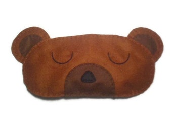 Bear sleep mask, Bear eye mask, Animal sleep mask, Felt eye mask, Cute sleep mask, Kids sleep mask, Childrens sleep mask, adult sleep mask