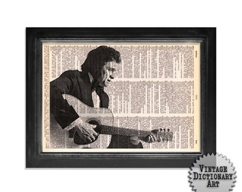 Johnny Cash and Guitar Horizontal - The Musician Series - Printed on Vintage Dictionary Paper - 8x10.5 - Dictionary Art Print