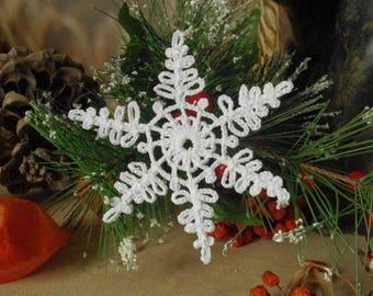 Crochet snowflake Christmas ornaments decorations Christmas tree embellishment White snowflakes Christmas snowflakes Winter decor S12