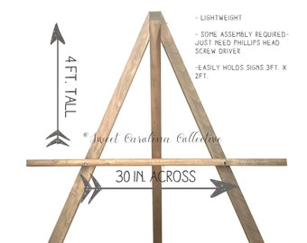 Rustic Wedding Easel | Wood Wedding Easel | Wooden Wedding Easel | Easel | Chalkboard Easel | Rustic Wedding Sign Easel - WS-197