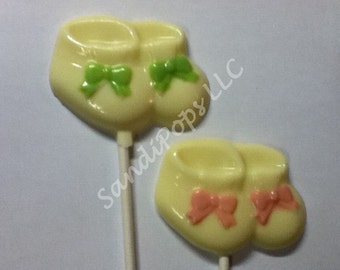 24 Baby Shower /  Baby Announcement Girl / Boy BOOTIE Chocolate Lollipops