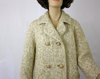 Vintage 60s 3/4 Boucle Wool Dress Coat Double Breasted w Rhinestone Buttons
