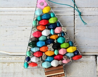 Joy to the World Ornament, Paper Bead Ornament, Handmade Christmas Ornament, Upcycled Ornament, Paper Ornament, Colorful Ornament, Rainbow