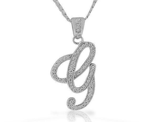 Letter g cursive initial cz pendant 925 sterling silver aloadofball Images