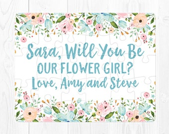 Flower Girl Proposal Puzzle Flower Girl Proposal Card Will You Be My Flower Girl Gift Flower Girl Puzzle Blue Flower Girl Gift Pink Aqua