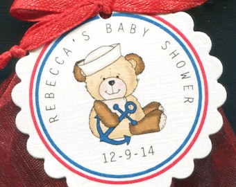 Personalized Baby Shower Favor Tags, sailor teddy, set of 50
