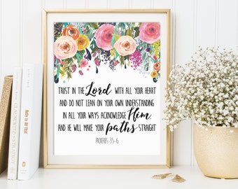 Trust In The Lord With All Your Heart, Proverbs 3:5-6, Proverbs 3 5, Bible Verse Art Print, Christian Nursery Decor, Scripture Prints, Bible
