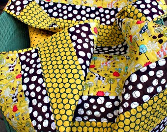 Modern baby quilt, gender neutral, giraffes, quirky spots everywhere in citron yellow and brown