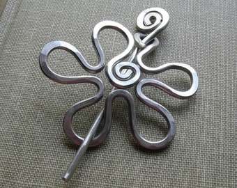 Aluminum Groovy Flower Shawl Pin, Hair Pin, Sweater Brooch, Fastener, Closure, Sweater Clip, Women Accessories, Knitting Accessory