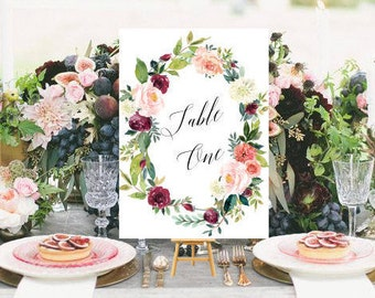 Wedding Table Numbers, Printable Wedding, Numbers 1-35, Wedding Decor, Table Number Cards,Wedding,DIY Table Numbers, Floral Watercolor #R097
