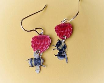 Raspberry and bee recycled tin earrings