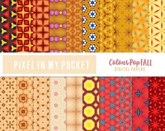 Red, Orange & Yellow Fall [Colour Pop] Digital Patterned Paper Pack [Instant Download]