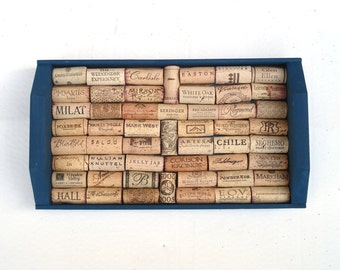 Navy Blue Wine Cork Board repurposed from an old tray