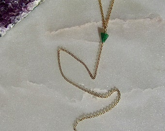 Emerald Jade Lariat // Gold Lariat // Delicate Necklace // Gemstone Necklace