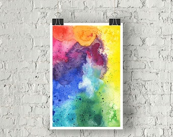 Hand Painted Abstract Watercolor Composition in Rainbow Colors - Giclée Print of My Original Watercolor Painting