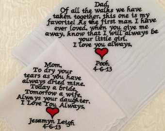 set of 2 personalized handkerchiefs