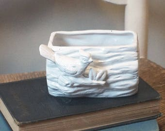 Vintage ceramic bird planter, painted white
