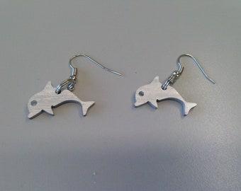 Orecchini donna, orecchini estate, coppia delfini in alluminio, monachella aperta, inossidabile