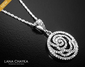 Cubic Zirconia Bridal Necklace, CZ Silver Necklace, Wedding CZ Floral Charm Necklace, Bridal Jewelry, Cubic Zirconia Pendant, Prom Necklace