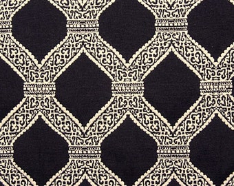 Black and White - Lattice Work - Palm Beach Style - Brenda - Matelasse -  Upholstery Fabric By The Yard