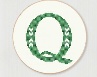 Cross stitch letter Q pattern with chevron detail, instant digital download