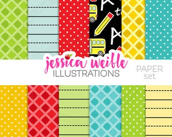 Apple For Teacher Cute Digital Papers for Card Design, Scrapbooking, and Web Design
